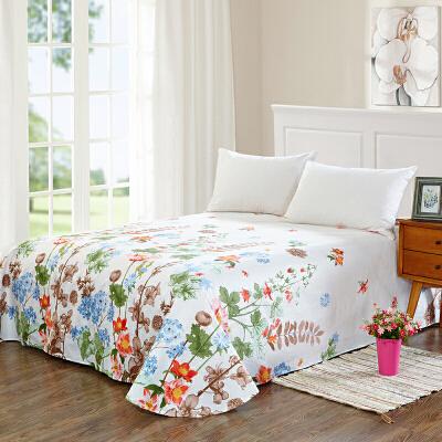 当当优品 纯棉斜纹床上用品 床单250*230cm 花团锦簇当当自营 100%纯棉 不易褪色 0甲醛 透气防潮 大尺寸