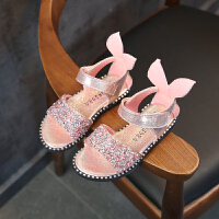夏女童凉鞋儿童亮片公主鞋可爱露趾凉鞋中大童包跟罗马鞋