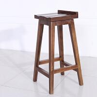 简约家用吧台椅 实木酒吧椅 黑胡桃实木多功能椅子