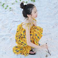 女大童雪纺连衣裙儿童沙滩裙女童海边度假黄色碎花吊带裙夏装新款