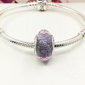 PANDORA潘多拉 紫色闪烁琉璃925银琉璃串饰791651