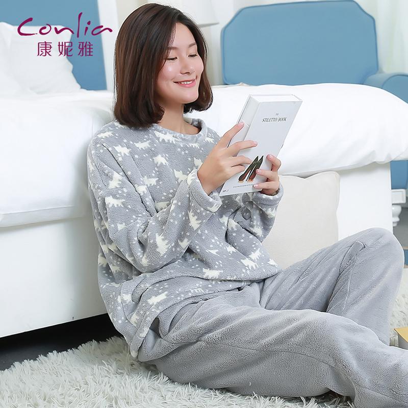 【便服】康妮雅珊瑚绒睡衣 女士冬季加厚保暖卡通甜美长袖家居服套装先领卷后购物 满399减50