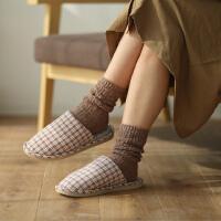 时尚家居棉拖鞋女家用秋冬季可爱毛绒包跟厚底居家室内月子棉鞋
