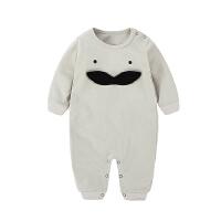 婴儿连体衣服宝宝新生儿0岁3个月棉6季1装冬季冬装睡衣新年