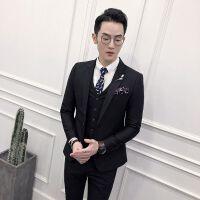 品质大码男士西装男韩版修身英伦风新郎礼服商务休闲西服三件套