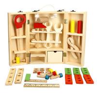 DIY手提益智仿真木制儿童过家家玩具套装男孩维修修理智力工具箱