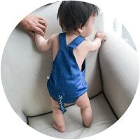 婴儿夏装衣服宝宝背带三角爬服男女童牛仔哈衣新生儿背带裤潮 牛仔蓝(背带裤)