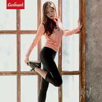 【领券立减50元】Coolmuch运动健身三件套女士修身弹力显瘦连帽外套背心七分裤健身跑步套装RE18021T3