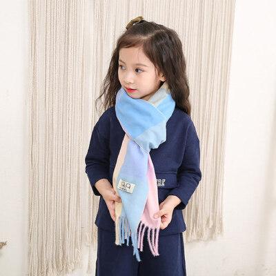 韩版保暖围脖小学生仿羊绒羊毛围巾儿童围巾小女孩彩格潮披肩 品质保证 售后无忧