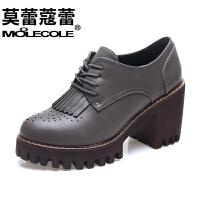 莫蕾蔻蕾 女鞋粗跟休闲单鞋流苏系带色防水台高跟鞋 5Q121