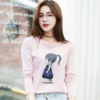 2018秋冬季新款女装秋装韩版宽松长袖T恤女百搭卡通印花外穿上衣服