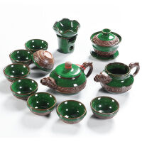 龙凤冰裂功夫茶具套装家用泡茶壶茶杯盖碗公道杯茶漏整套 龙凤冰裂茶具