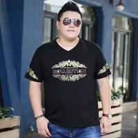 夏天新款潮胖子短袖T恤加肥加大码宽松肥佬男装V领潮流胖子打底衫
