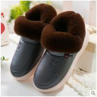 男士高帮棉拖鞋冬季包跟厚底室内防滑毛绒保暖冬天家居棉鞋男外穿
