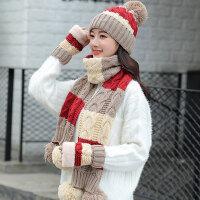 户外骑车帽围巾手套三件套女 韩版百搭加绒针织帽 新款保暖女士毛线帽