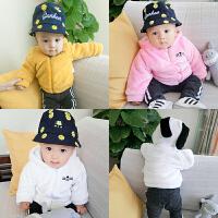 婴儿衣服冬季0岁3个月6宝宝加绒加厚上衣9新生儿外套冬装