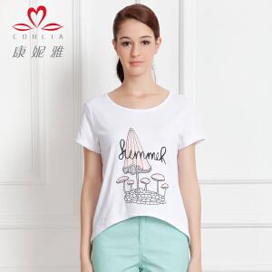 康妮雅夏季女装薄款舒适前短后长时尚韩版短袖T恤