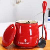 创意陶瓷杯子带盖勺马克杯情侣早餐杯牛奶杯logo定制公司礼品特价