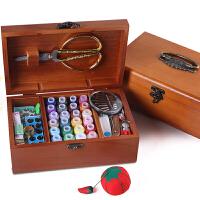 针线盒套装 装针线包家用复古缝纫线针线收纳盒十字绣实木工具盒