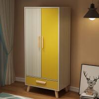 【满减优惠】两门衣柜儿童小孩卧室出租房用简易小型衣橱收纳柜子实木现代简约