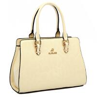 真皮时尚手提包新款漆皮中年妈妈品牌女士牛皮单肩斜挎女包包 米白色