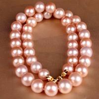 收藏级稀有色粉色珍珠项链 001030