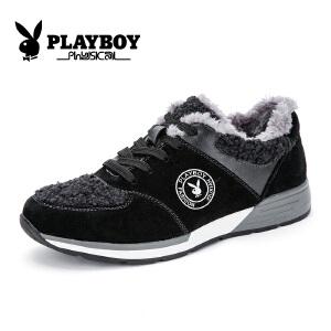 花花公子男鞋运动鞋男板鞋户外休闲鞋加绒保暖棉鞋 征-CX39147M