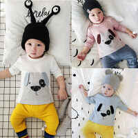 春秋夏婴儿上衣 宝宝长袖T恤卡通肩扣打底衫 01岁宝3-6-9个月衣服