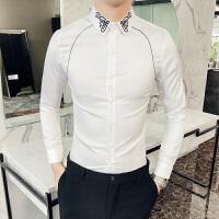 春装新款韩版英伦男士长袖衬衫尖领绣花插件线条纯色复古修身衬衣