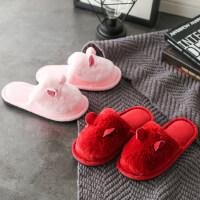 情侣室内居家用保暖家居包跟防滑厚底棉拖鞋女士毛毛拖鞋