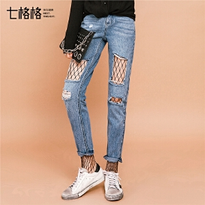 七格格ins2018春装新款韩版宽松破洞烂显瘦百搭高腰九分直筒牛仔裤女潮