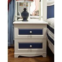 床头柜地中海床边柜蓝色收纳柜家具储物柜卧室小柜子 图片色 组装