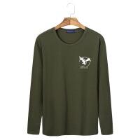 宽松青年运动男式长袖T恤男款棉印花圆领字母大码衫-长袖小飞鹰