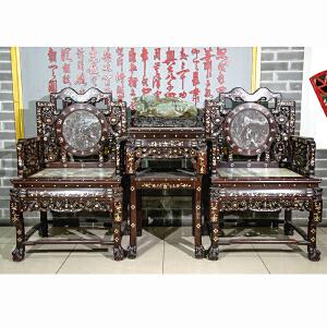 S933民国《太师椅三件套》(红酸枝螺钿镶嵌,大理石座板靠板,褒奖丰润,做工精细,保存完整属实用收藏型。)