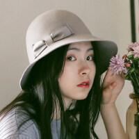 休闲简约小沿韩版礼帽可折叠毡帽子毛呢盆帽女羊毛渔夫帽