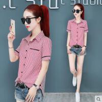 短袖衬衫女韩版户外新品网红同款新款韩范修身百搭格子衬衣女士职业装寸衫