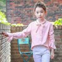 女童衬衫春秋2018新款中大童气质淑女条纹喇叭袖领结衬衣韩版儿童