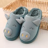 冬季一家三口子儿童卡通男女居家可爱小孩保暖室内皮棉拖鞋