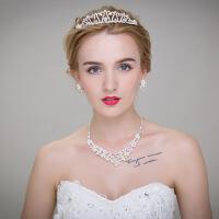 韩式三件套饰品结婚皇冠首饰套装婚纱项链耳环新娘结婚 图片色 均码