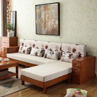 全实木沙发 橡胶橡木组合现代简约中式客厅家具贵妃小户型沙发床