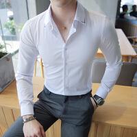 长袖白衬衫村杉忖纯色寸衫男士衬衣领子刺绣韩版修身纯色商务正装