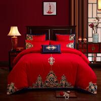 爱水星家纺婚庆四件套大红全棉新婚刺绣床上用品喜婚被结婚床品