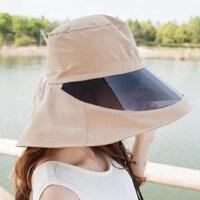 女士遮阳帽太阳帽子女夏天大沿骑车防晒帽电动车遮脸凉帽 可调节