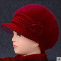 中老年人帽子女妈妈帽贝雷帽薄款韩版百搭加绒保暖兔毛线帽