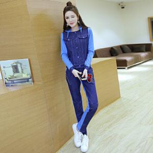 【班图诗妮】新款韩版女装上装针织拼接牛仔小外套 牛仔运动裤套装A