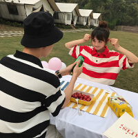 短袖夏装学生文艺范韩版潮流条纹情侣T恤衫男女班服