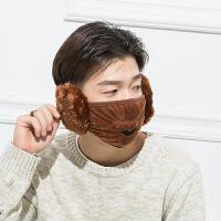 .冬季保暖口罩冬天防寒耳罩可爱骑行时尚韩版男女儿童护耳 深棕色 男款(均码)