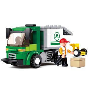 【当当自营】小鲁班新航空天地系列儿童益智拼装积木玩具 小型厢式货车M38-B0368