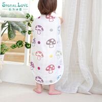 婴儿睡袋夏季薄款全棉纱布空调房防踢被薄棉宝宝儿童分腿睡袋夏天