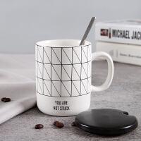 早餐水杯子陶瓷简约潮流带盖勺咖啡情侣一对办公室马克杯